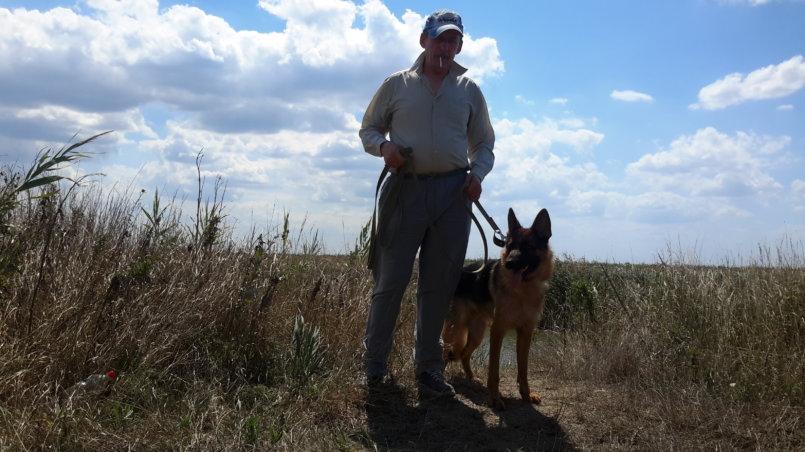 С собакой на поводке