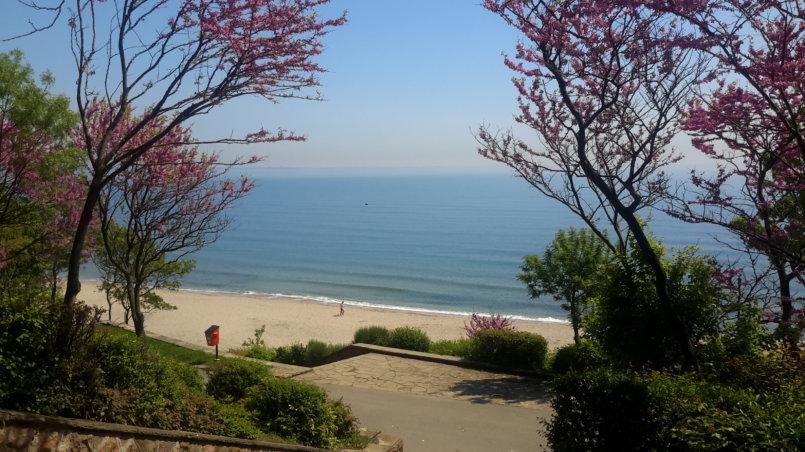 Вид на песчаный пляж